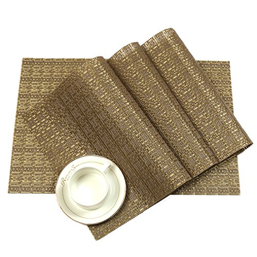 PAUWER Placemats for Dining Table Woven Vinyl Non-slip Heat Insulation Placemat Washable Table Mats Set of 6