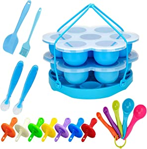 Silicone Egg Bites Molds and Egg Steamer Rack Trivet with Sling,Freezer Accessory, for 5, 6 & 8 Qt Pressure Cooker Accessories (blue)