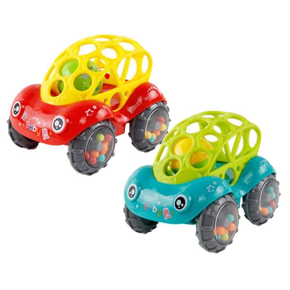 Spielzeugauto für Baby kinder, Pädagogische Spielzeug mit Sound, Jungen und Mädchen Weich Spielzeug Auto - Leicht zu Greifen(1Rot +1 Grün) Forepin