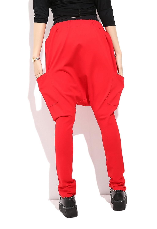 ELLAZHU Women Baggy Harem Drapes Color-Block Pants Onesize GM274