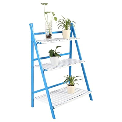 GOTOTOP Plant Flower Stand, 3 Tire Flower Pot Rack with Bamboo Ladder Shelf Rack Foldable Planter Storage Rack Display Shelving with Step Design(Blue+White) : Garden & Outdoor