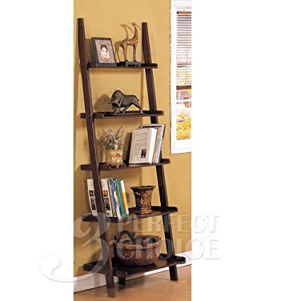 Poundex Leaning Bookcase Bookshelf Dark Espresso Brown