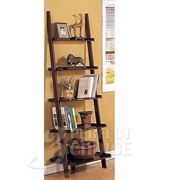 quality design 9e674 52d40 Poundex Leaning Bookcase Bookshelf, Dark Espresso Brown