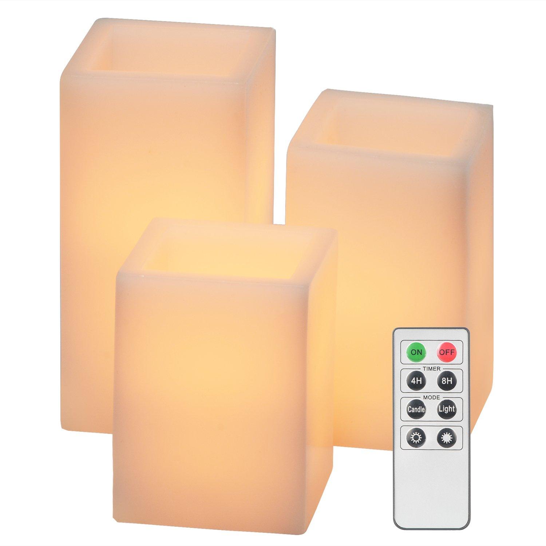 [ 3 ]のセット、livecomfort正方形アイボリーワックス無香料FlickingフレイムレスキャンドルLEDキャンドルwith 2 Flame and 2明るさモード、auto-offタイマーと1つリモートコントロール Set of 3 B078SQ11N5 16671   Set of 3