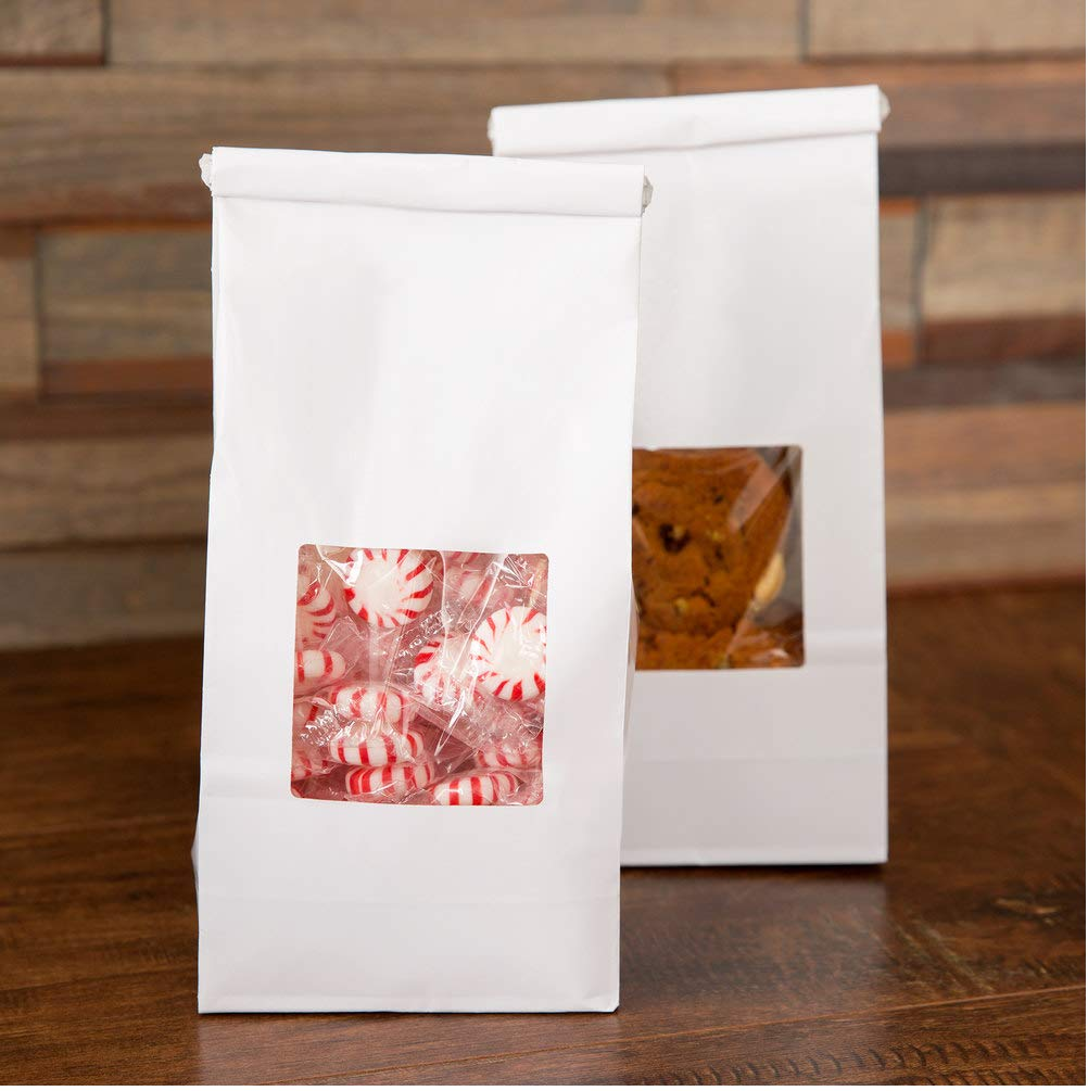 Bakery Bags with Window 1/2 LB White 25 Pack - White 1/2 lb tin tie Coffee Bakery Bags w/Window