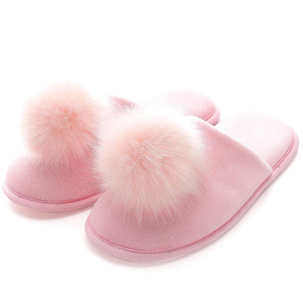 Women Indoor Slippers Stylish Velvet Clog Slipper for House Pink M