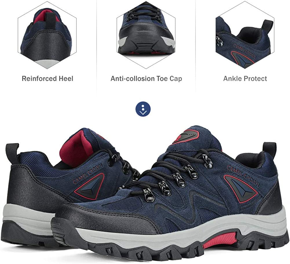 CAMEL CROWN Mens Walking Shoes Breathable Hiking Shoes Non-Slip Trainers Low Top Lace Up Lightweight Footwear for Outdoor Trekking Walking Trails Travel Work Daily Life