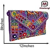 Purple Women Banjara Clutch Bag In Rajasthani Style Magenatic Closure Foldover Clutch Purse