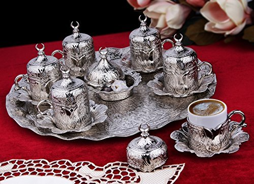 27 Pieces Turkish Greek Coffee Espresso Set for Serving - Porcelain Cups with Tray and Saucers - Vintage Tulip Design Ottoman Arabic Gift Set, Silver (Serving Tray Turkish)