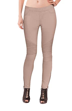 HyBrid & Company Womens Super Comfy Stretch Ankle Zip Moto Skinny ...