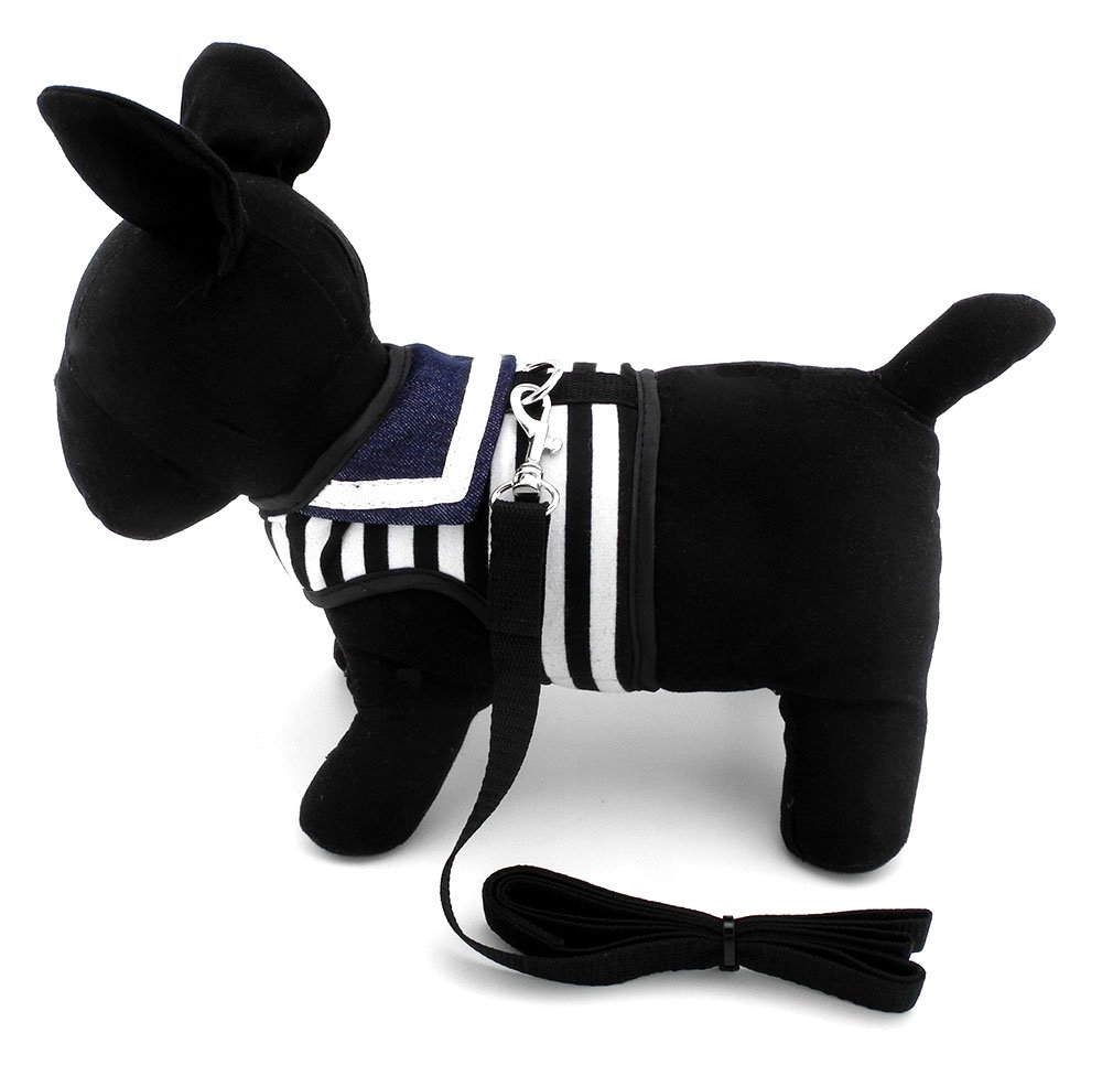 smalllee_lucky_store Soft Mesh Sailor Harness for Cat and Small Dogs, Pet Navy Striped Walking Vest Puppy Padded Harnesses Leash Set Adjustable Black S