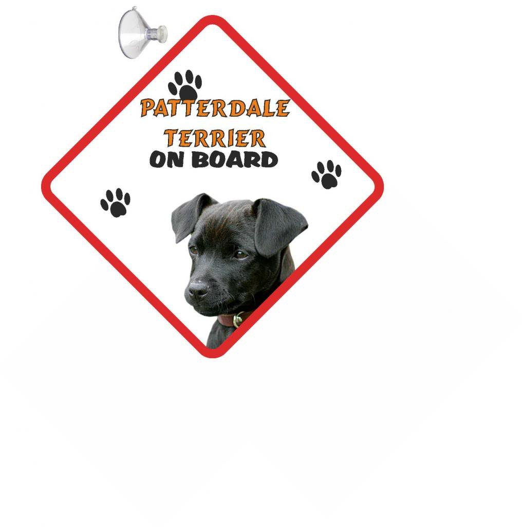 Patterdale Terrier DOG HANGING CAR SIGN with Rubber Sucker 184 black
