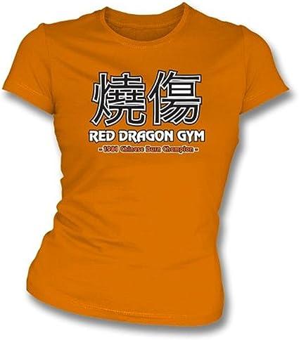 Los chinos queman la camiseta del slimfit de las muchachas del campeón, naranja del color: Amazon.es: Ropa y accesorios