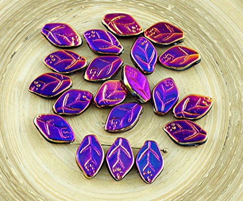 (30pcs Metallic Opaque Purple Sliperit Czech Glass Carved Leaf Flower Beads 7mm x 12mm)