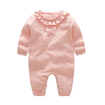 3dd12301efa19 Auro Mesa Girl Winter Clothes Princess Clothes for Girls Baby Rompers  Knitted Red and Pink Baby