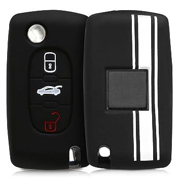 de kwmobile Funda de Silicona para Llave Plegable de 2 Botones para Coche Peugeot Citroen Azul Carcasa Protectora Silicona - Case Mando de Auto Suave