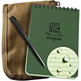 "Rite in the Rain Weatherproof 4"" x 6"" Top-Spiral Notebook Kit: Tan CORDURA Fabric Cover, 4"" x 6"" Green Notebook, and an Weatherproof Pen (No. 946-KIT)"