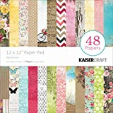 Kaisercraft Paper Pad 12x12-Inch, Expressions, 48-Pack