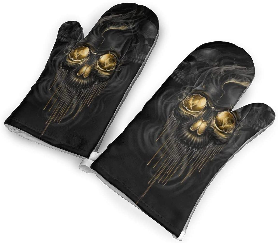 not Black and Gold Skull Oven Mitts with Polyester Fabric Printed Pattern,1 Pair of Heat Resistant Oven Gloves for Cooking,Baking,Grilling,Barbecue Potholders
