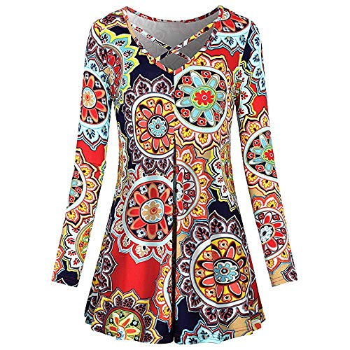 Women Dress,Sexyp Sexy Vintage Print Long Sleeve Dress Loose Casual Party Skirt,National Style Dress (Large, Multicolor)