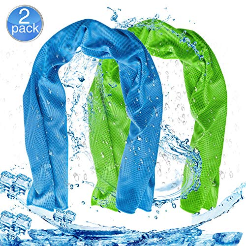 Cooling Neck Bandanas (Cooling Neck Towel 2 Pack Cool Towels by Cosy Zone Instant Cooling Neck Towels for Sports Fitness Gym Travel Yoga Camping(40