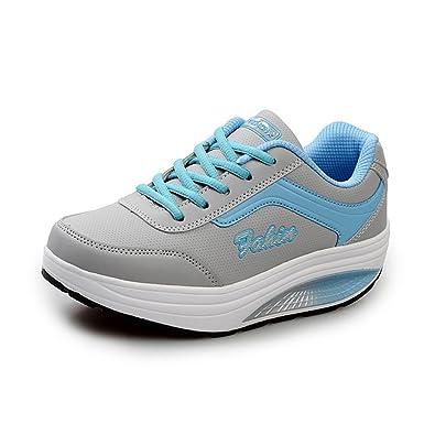 Damen Sneaker Schnürsenkel Gemütlich Rund Toe Plateau Verbindung Entspannt Strapazierfähig Schnürhalbschuhe Weiß Rot 37 EU 4XBgFkr