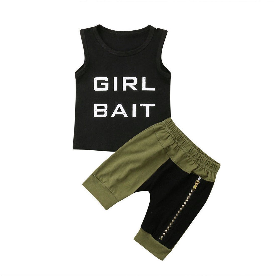 f96ad0578 Super cool fashion two pieces Summer clothes set for baby boys 6 months to  5 years. Sleevess black t-shirt vest with Girl Bait letter print, ...