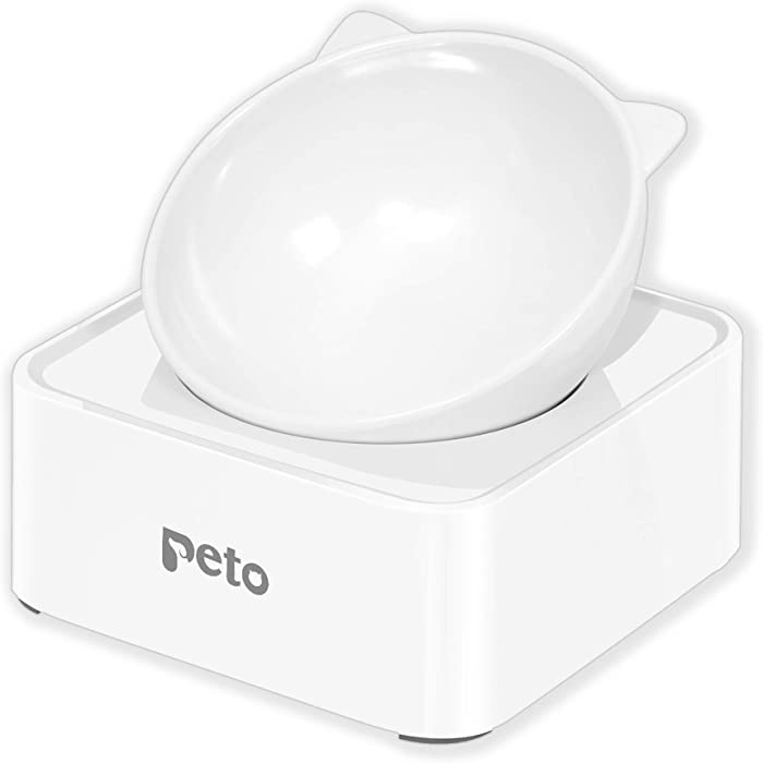 Peto Cat Dog Bowl Raised Cat Food Water Bowl with Detachable Elevated Stand Pet Feeder Bowl No-Spill, 0-30°Adjustable Tilted Pet Bowl Stress-Free Suit for Cat Dog (White)
