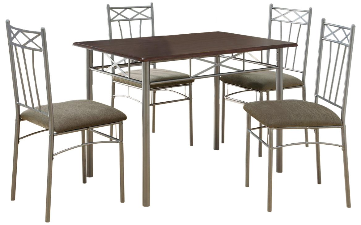Monarch Specialties I 1020 Cappuccino Silver Metal Dining Set, 5-Piece