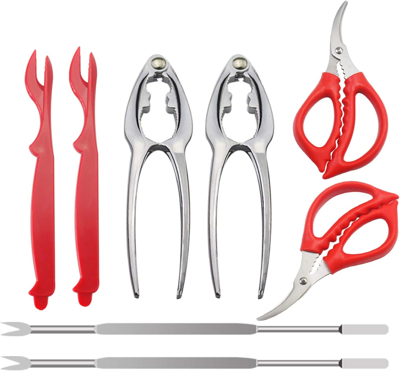 WeiMeet Seafood Tools Nutcrackers Set Crab Lobster Crackers Tools including 2 Crab Crackers 2 Lobster Shellers 2 Forks and 2 Seafood Scissors(8 Pack)