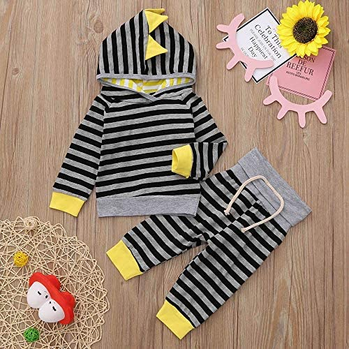Autumn Winter Baby Outfits,Fineser 2Pcs Infant Toddler Baby Hooded Tops Jacket Sweatshirt+Pants Tracksuit Set Stripe Print