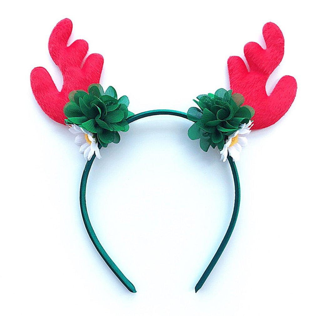 GUAngqi Antlers Flowers Christmas Headband Elk Headbands Christmas Party Decor Hats Hairband Fancy Dress Costumes Accessory,C
