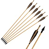 Huntingdoor Pheasant Feathers Wooden Hunting Arrows Archery 6Pk with A-806 Broadhead 150grain for Recurve Bow or Longbow