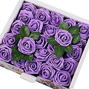 Febou Artificial Flowers, 50pcs Real Touch Artificial Foam Roses Decoration DIY for Wedding Bridesmaid Bridal Bouquets Centerpieces, Party Decoration, Home Display, Office Decor (Standard Type,Purple) 25
