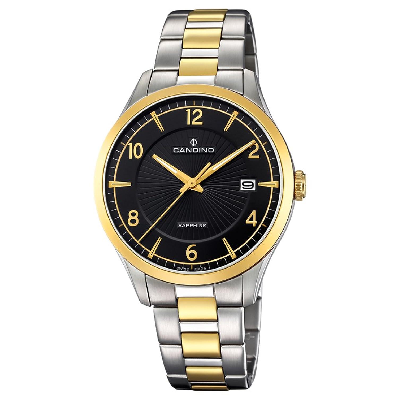 Candino Armbanduhr fÜr Herren Saphir analog Elegant mit Edelstahl-Armband silber gold Quarz-Uhr UC4631-2