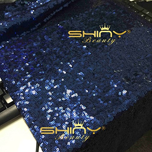 ShinyBeauty 13in X 108in Sequin Table Runners On Sale -- Shinny Navy Blue