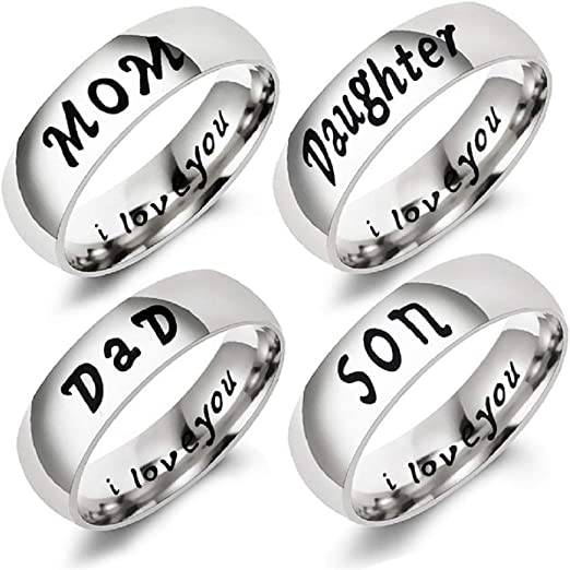 Amazon Com Antybaby Finger Rings For Mother Engraved Rings Love