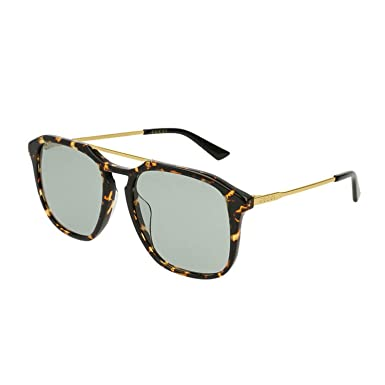 cecb9c63e25 Image Unavailable. Image not available for. Color  Gucci GG0321S Sunglasses  004 Havana Gold   Green Lens ...
