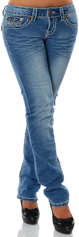 Damen Jeans Hose Straight Leg Gerades Bein Dicke Naht DA 12923