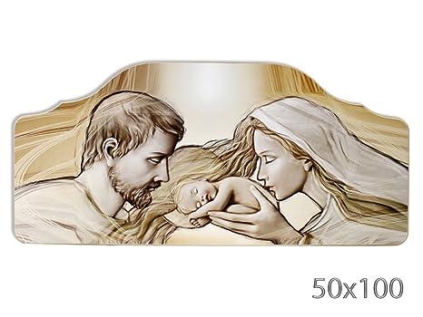 Vetrineinrete® Quadro su pannello in legno con sacra famiglia per capezzale  camera da letto quadri sacri religiosi per arredamento casa 50x100 cm ...