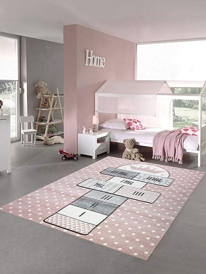 Merinos Kinderteppich Hüpfspiel Teppich Hüpfkästchen In Rosa Grau Creme Größe 200 X 290 Cm Amazon De Küche Haushalt