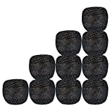 Set of 10 Pcs Black with Metallic Silver Cotton Crochet Thread Cross Stitch Tatting Doilies Lacey Craft Yarn