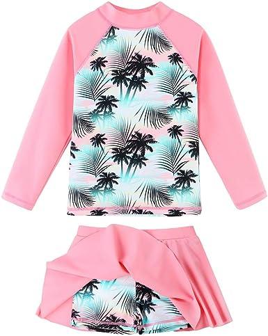 Toddler Girls Two Piece Swimsuits Long-Sleeve Cartoon Bathing Suits Rash Guard UPF 50 Swimwear Set for Kids