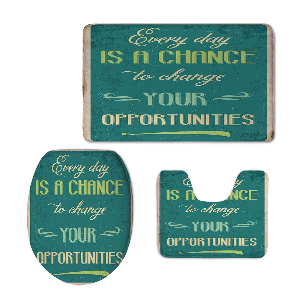 Fashion 3D Baseball Printed,Lifestyle,Every Day is a Chance to Change Your Opportunities Quote Retro Poster Print,Jade Green Tan,U-Shaped Toilet Mat+Area Rug+Toilet Lid Covers 3PCS/Set
