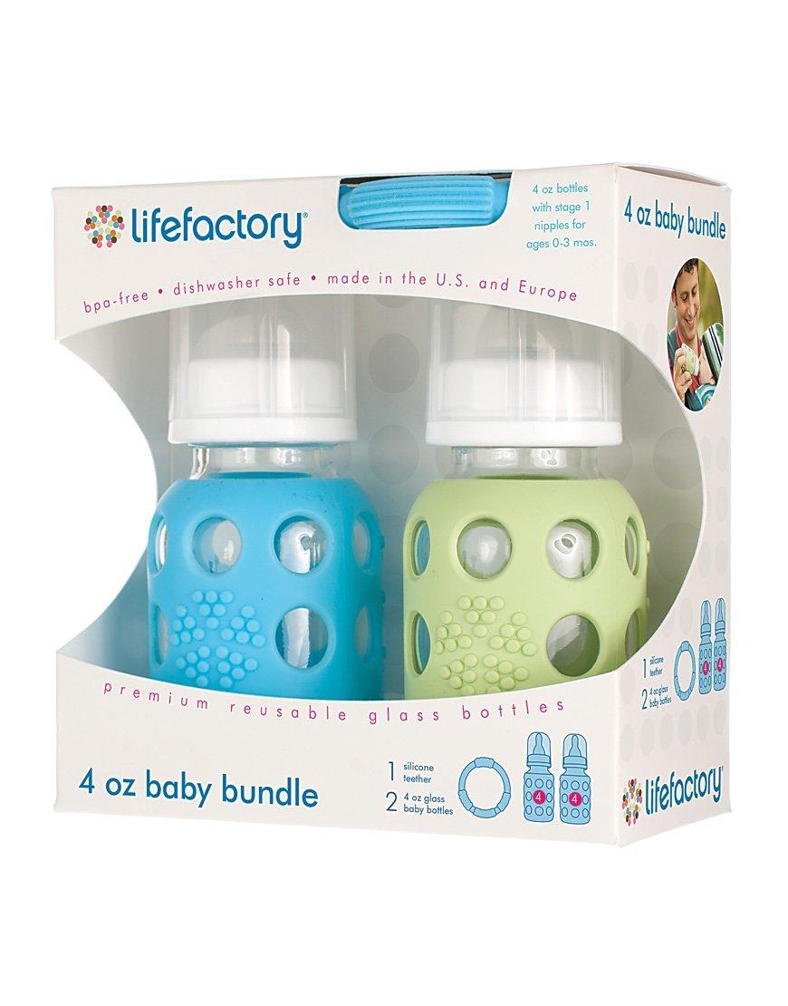 Amazon.com : Bebé Bundle Alimentación Paquete de regalo con 4 onzas Sky y Spring Green botellas de cristal y mordedores : Baby