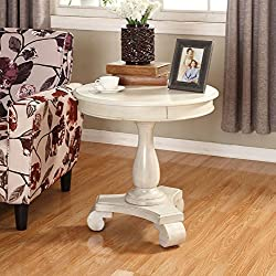 Roundhill Furniture Rene Round Wood Pedestal Side Table, White