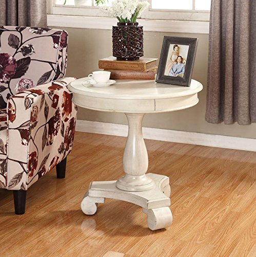 Wood Round Pedestal (Roundhill Furniture Rene Round Wood Pedestal Side Table, White)