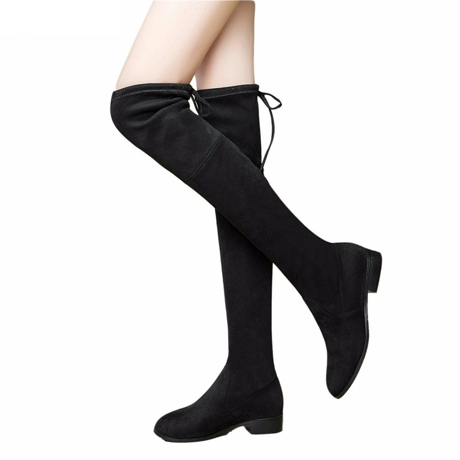 Dormery Ladies Shoes Square Low Heel Women Over The Knee Boots Scrub Black Pointed Toe Woman Motorcycle Boots Size 34-43