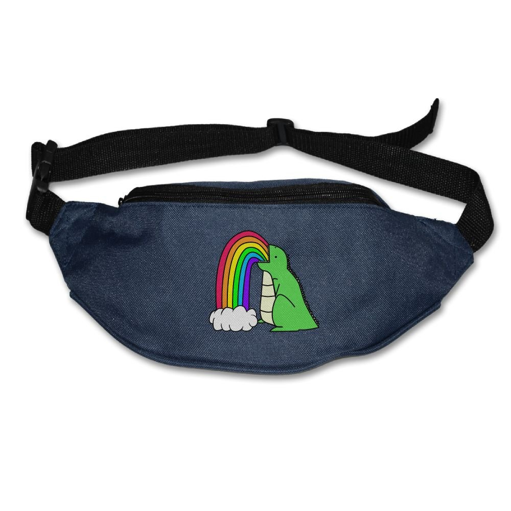 Unisex Pockets Dinosaur Puke Rainbows Fanny Pack Waist Bum Bag Adjustable Belt Bags Running Cycling Fishing Sport Waist Bags Black