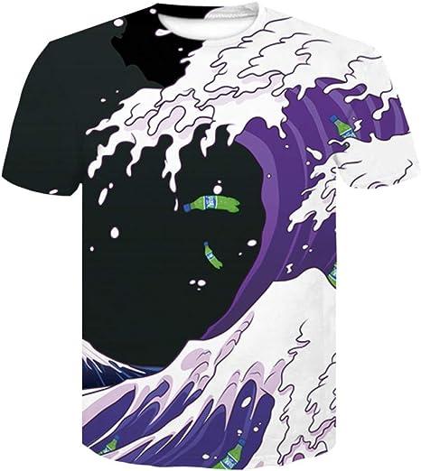 DUANXIUGE Cool 3D HD Impreso Camiseta Verano Divertido Anime Manga Corta O-Cuello Tops Camisetas Hip Hop Streetwear 3D Galaxy Camiseta Tallas Grandes: Amazon.es: Deportes y aire libre